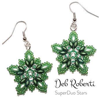 Deb Roberti's SuperDuo Stars Earrings & Pendant